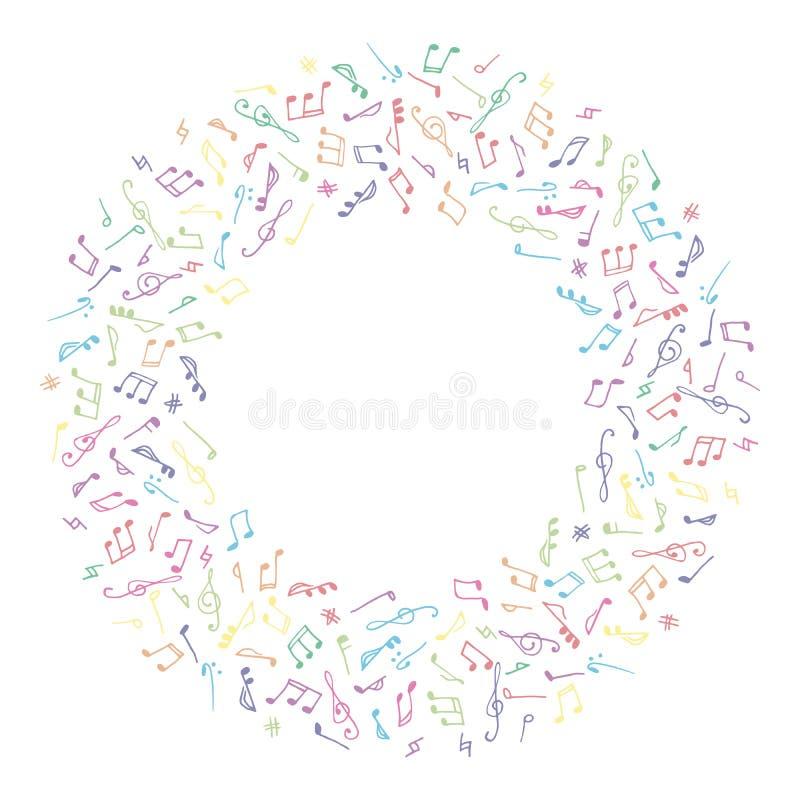 Färgrik musikram för cirkel i klotterstil royaltyfri illustrationer
