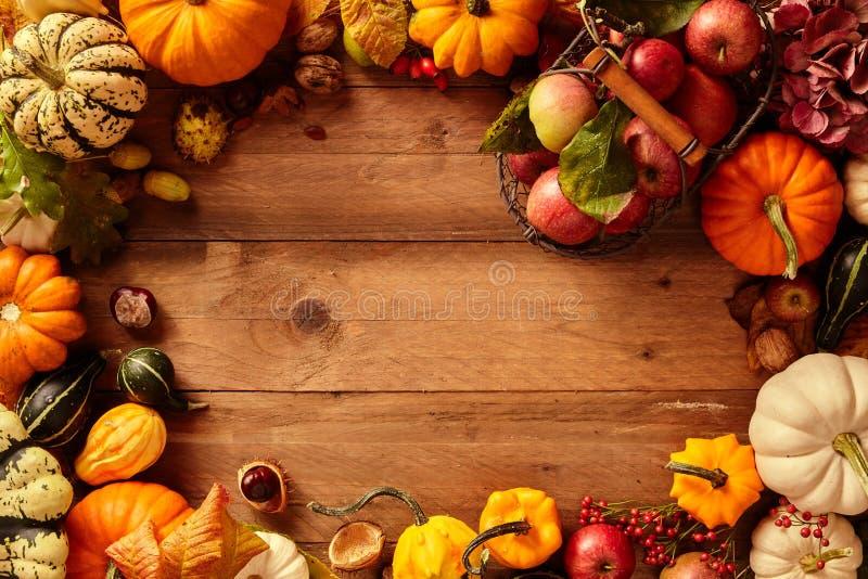 Färgrik nedgång- eller höstram av frukt och veggies arkivfoton
