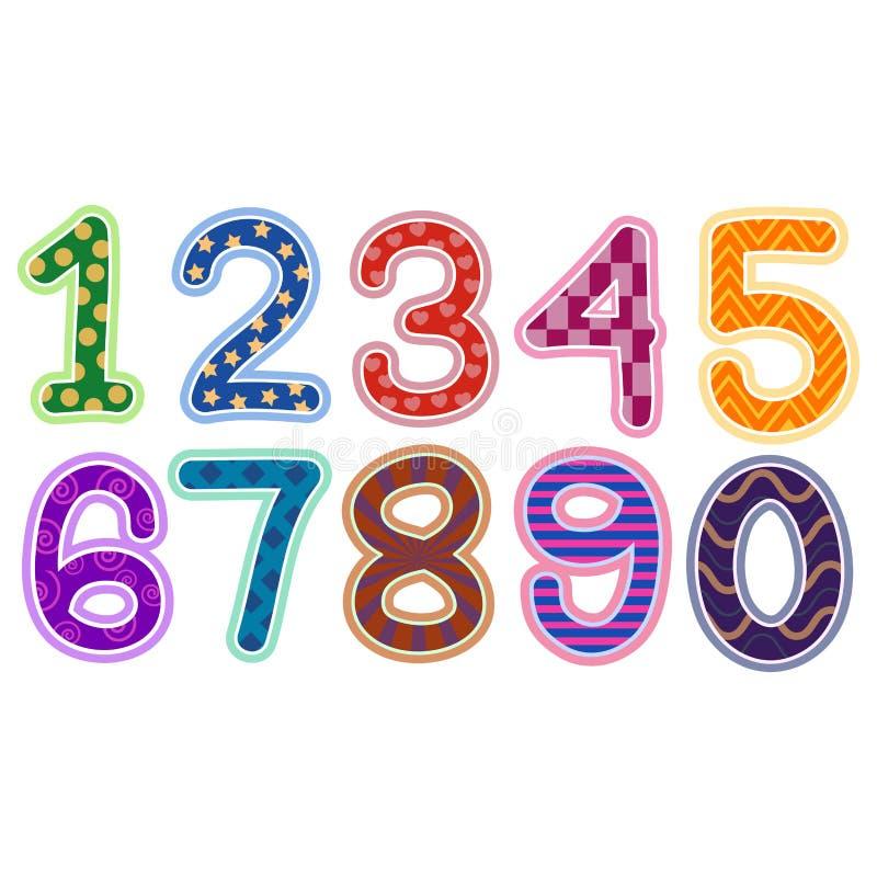 Färgrik nummeruppsättning med modellen och textur royaltyfri illustrationer