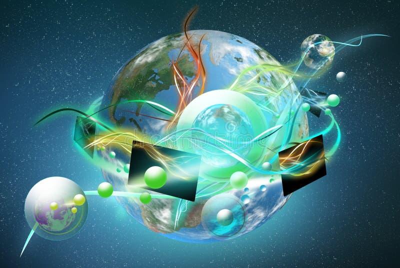 färgrik ny oled värld stock illustrationer