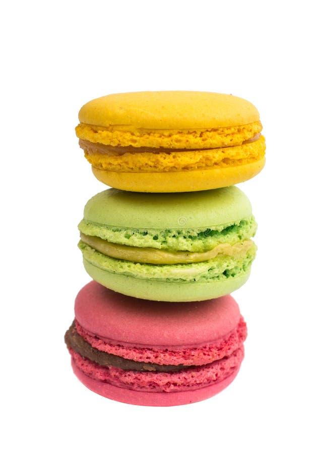 Färgrik och smaklig franska Macarons fotografering för bildbyråer