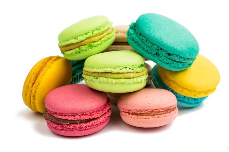 Färgrik och smaklig franska Macarons arkivbild