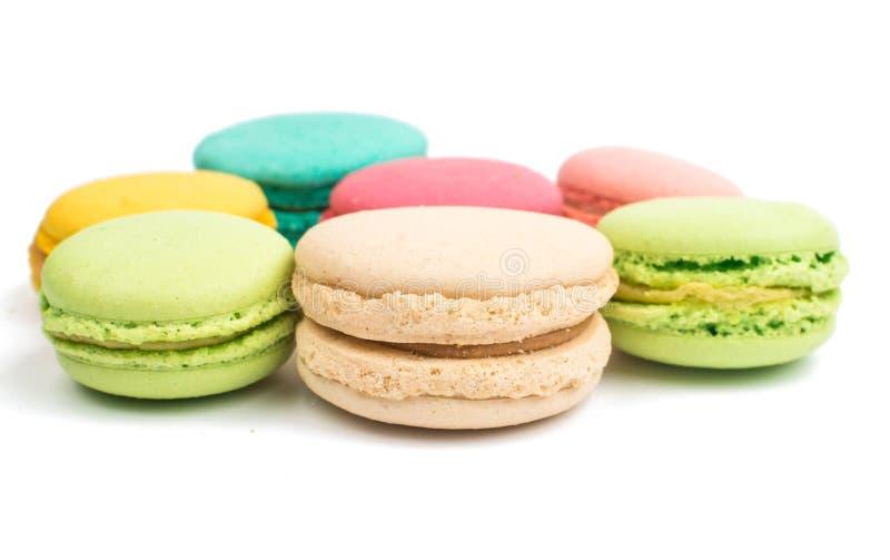 Färgrik och smaklig franska Macarons royaltyfri fotografi