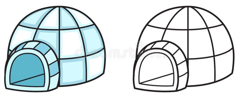 Färgrik och svartvit igloo för färgläggningbok royaltyfri illustrationer