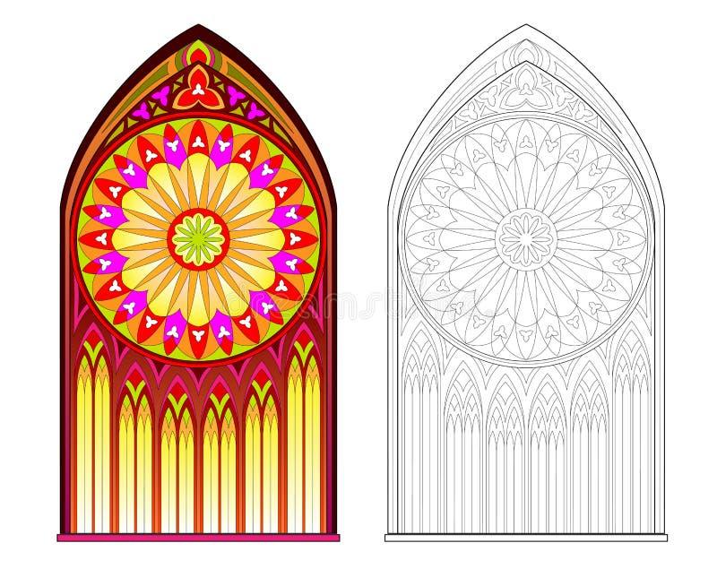 Färgrik och svartvit modell av det gotiska målat glassfönstret med den härliga rosen Tryckbar arbetssedel för färgläggningbok vektor illustrationer