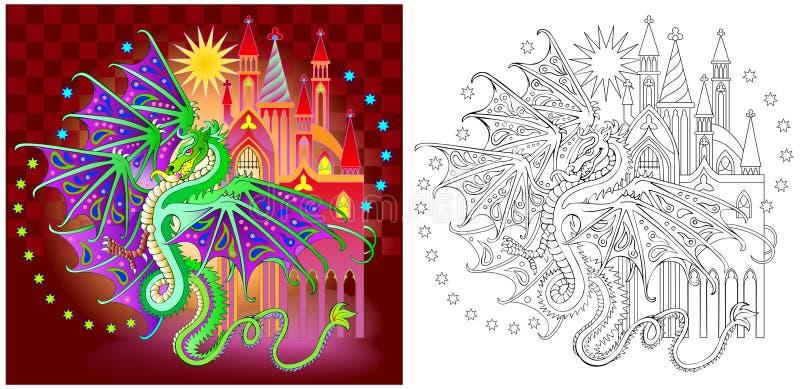 Färgrik och svartvit modell för att färga Illustration av fantasidraken i älvornas rikekungarike royaltyfri illustrationer