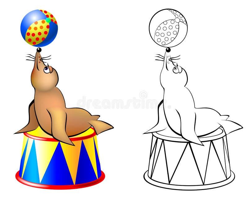 Färgrik och svartvit modellskyddsremsa i en cirkus vektor illustrationer