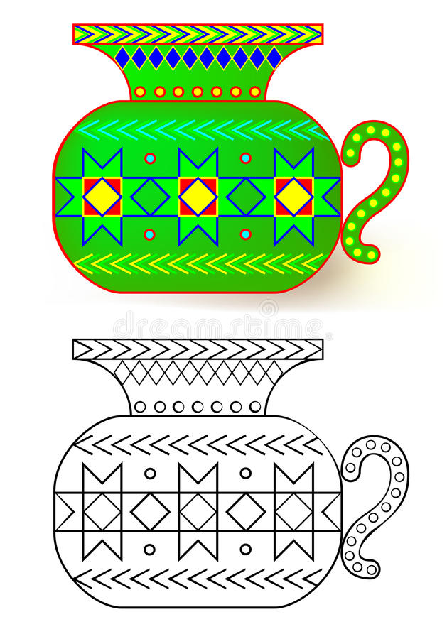 Färgrik och svartvit modellvas vektor illustrationer
