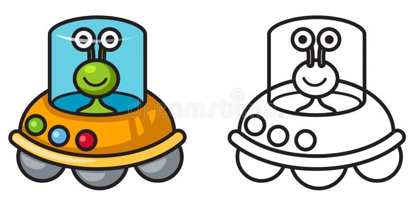 Färgrik och svartvit ufo för färgläggningbok vektor illustrationer