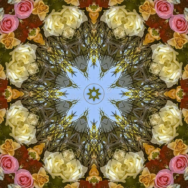 Färgrik och upptagen design för fyrkantig ram med blommor från ett bröllop arkivbilder