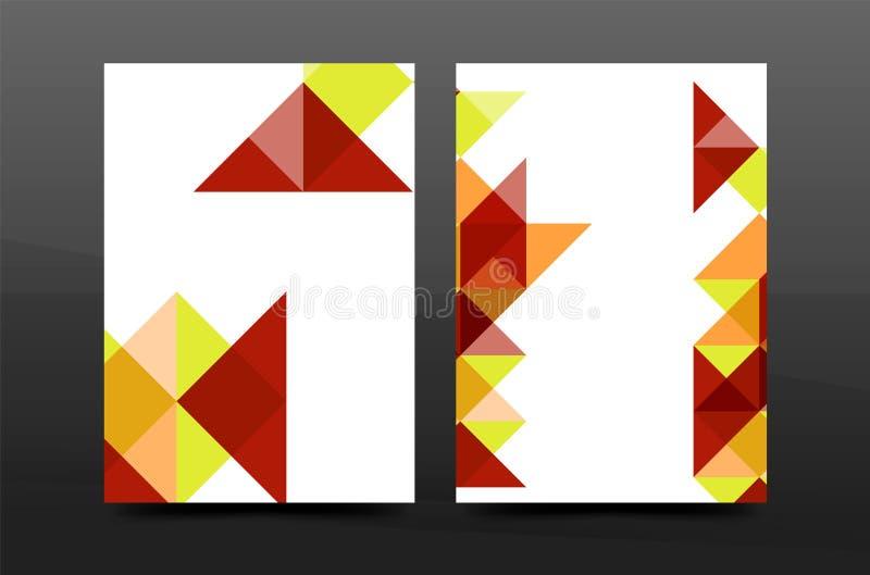 Färgrik orientering för mall för broschyr för räkning för geometridesignårsrapport a4, tidskrift, reklamblad eller broschyrhäfte royaltyfri illustrationer