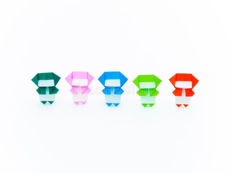 Färgrik origami Ninja fotografering för bildbyråer