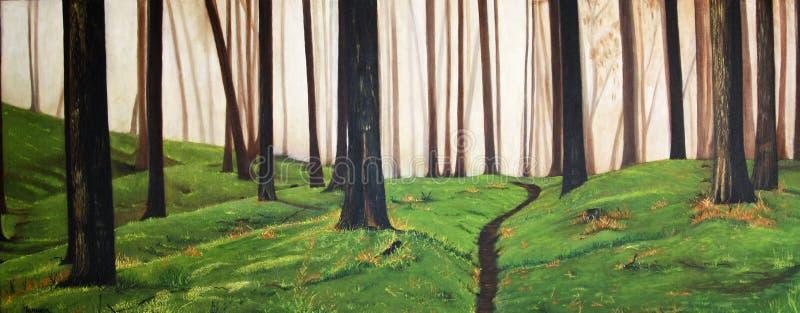Färgrik original- olje- målning av en skog arkivfoton