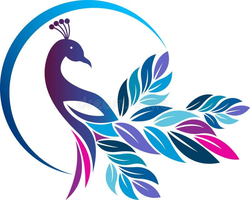 Färgrik påfågellogo stock illustrationer