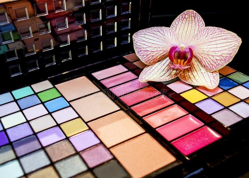 Färgrik palett för ögonskuggor arkivbilder