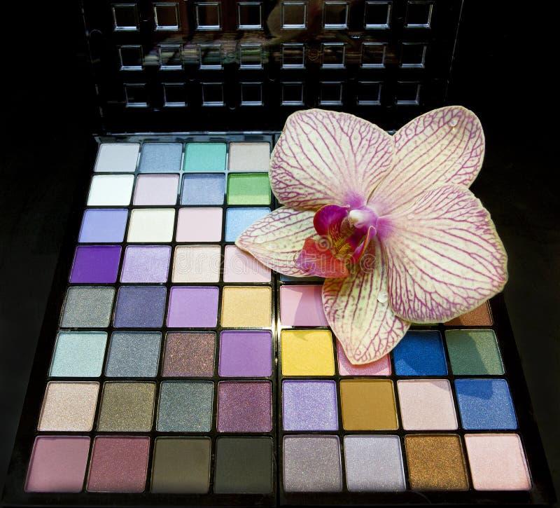 Färgrik palett för ögonskuggor fotografering för bildbyråer