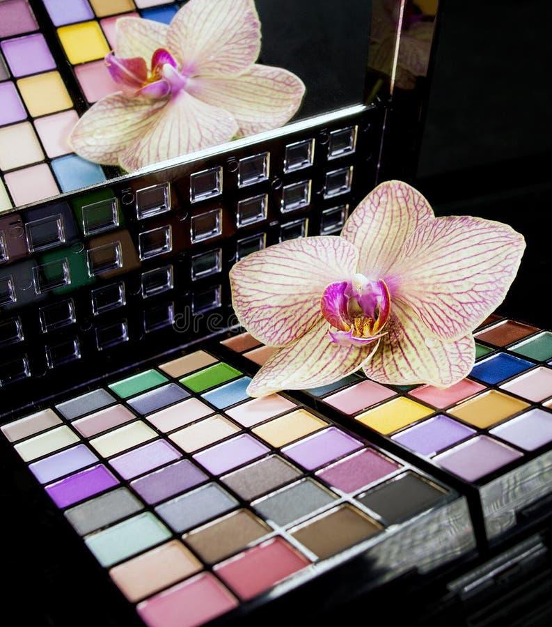 Färgrik palett för ögonskuggor arkivfoton