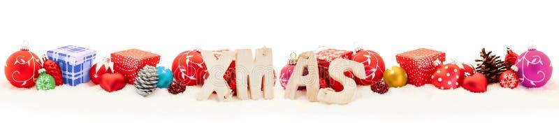 Färgrik panorama för julXmas-titelrad royaltyfria foton