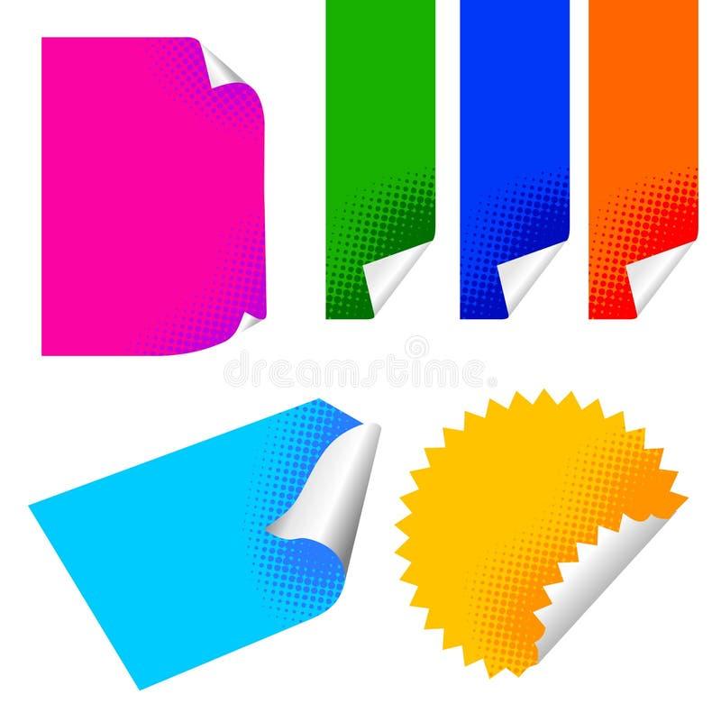 färgrik paper etikett stock illustrationer