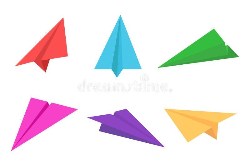 Färgrik pappers- nivå- eller origamiflygplansymbolsuppsättning stock illustrationer