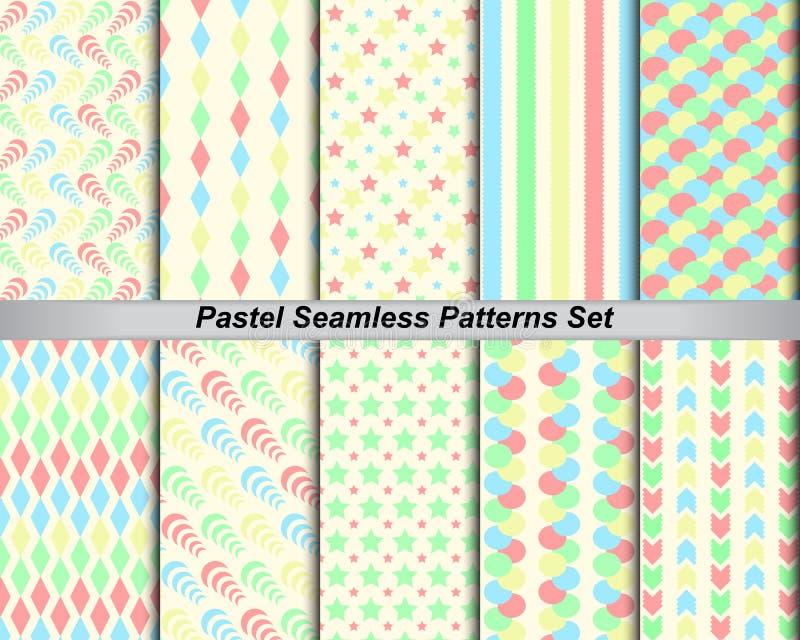 färgrik pastell för fastställd sömlös bakgrund för modell 10 (med provkartor) stock illustrationer