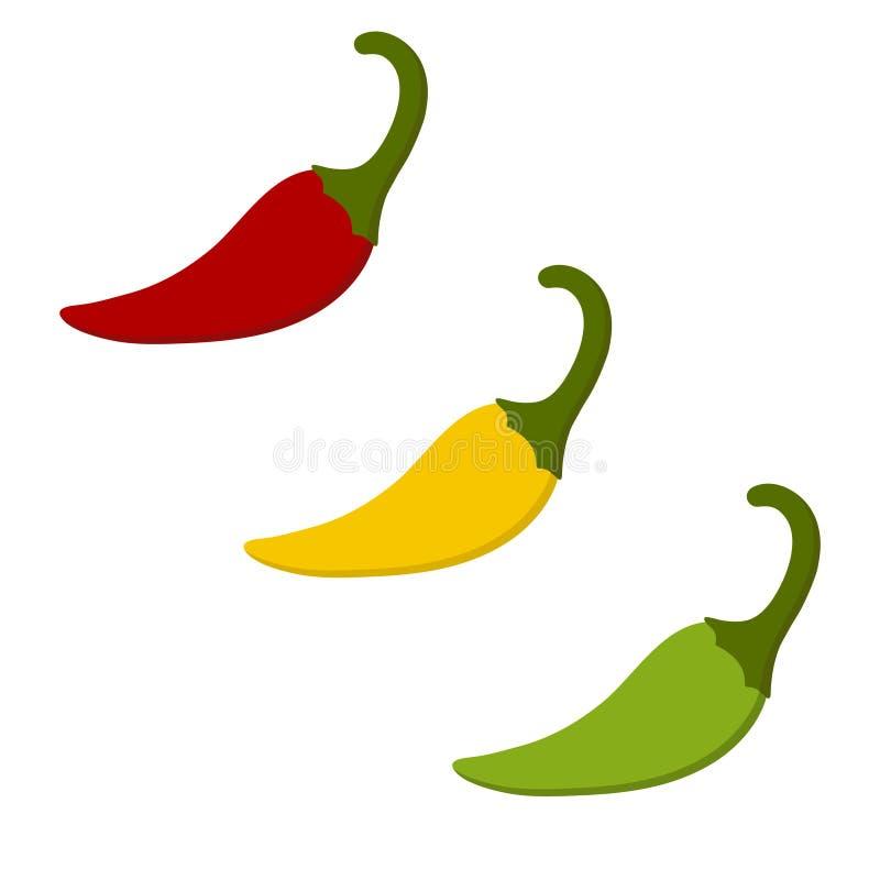 Färgrik peppar för varm chili som isoleras på vit bakgrund stock illustrationer