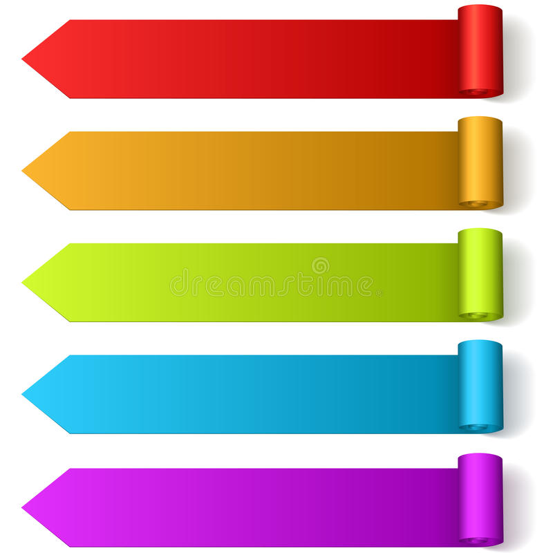Färgrik pil formade etiketter vektor illustrationer