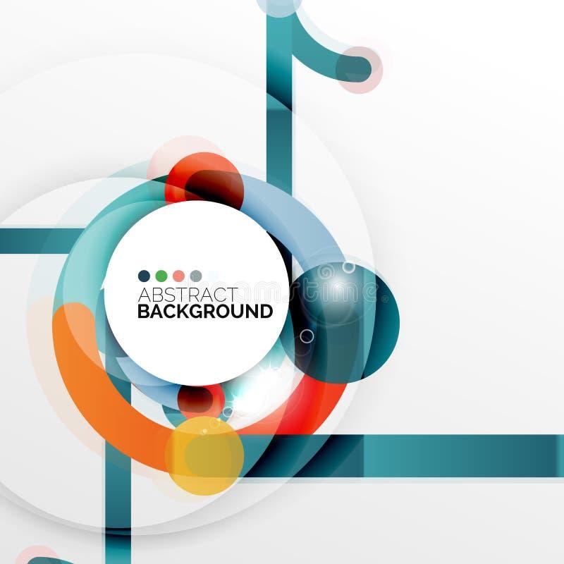 Färgrik plan designabstrakt begreppbakgrund Den formade virveln och cirkeln fodrar på vit stock illustrationer