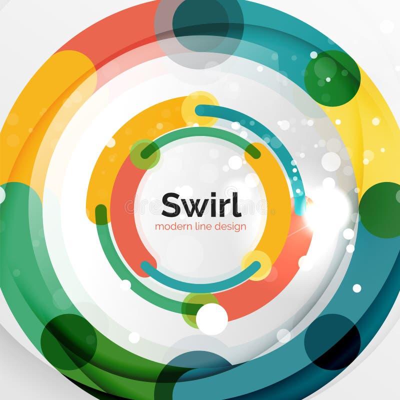 Färgrik plan designabstrakt begreppbakgrund Den formade virveln och cirkeln fodrar på vit vektor illustrationer