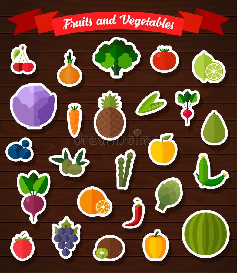 Färgrik plan frukt- och grönsakklistermärkeuppsättning vektor illustrationer