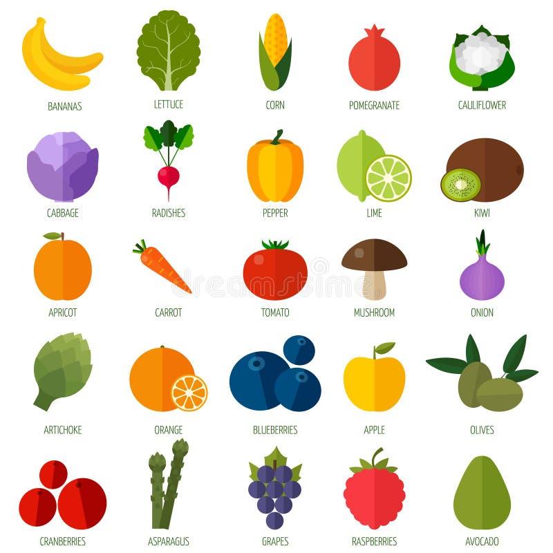 Färgrik plan frukt- och grönsaksymbolsuppsättning royaltyfri illustrationer