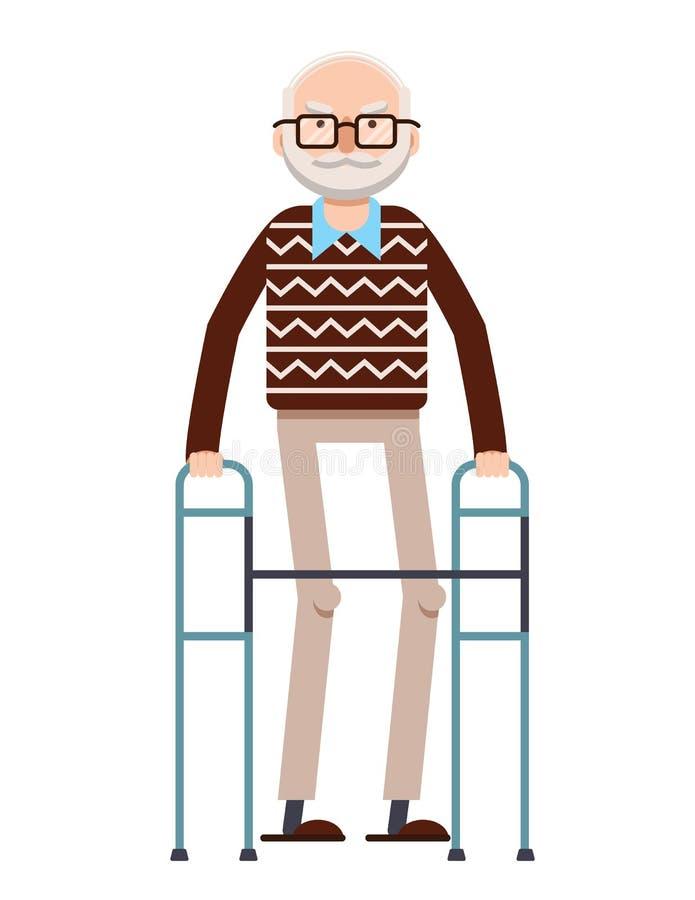 Färgrik plan stilillustration för vektor av gamala mannen som går med en rotting stock illustrationer