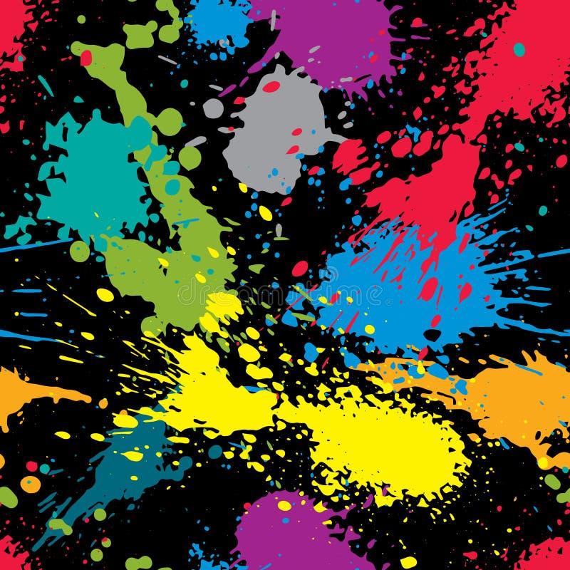 Färgrik plaskad modell för repetition för rengöringsdukdesign, smutsig konstfärgpulverblo royaltyfri illustrationer