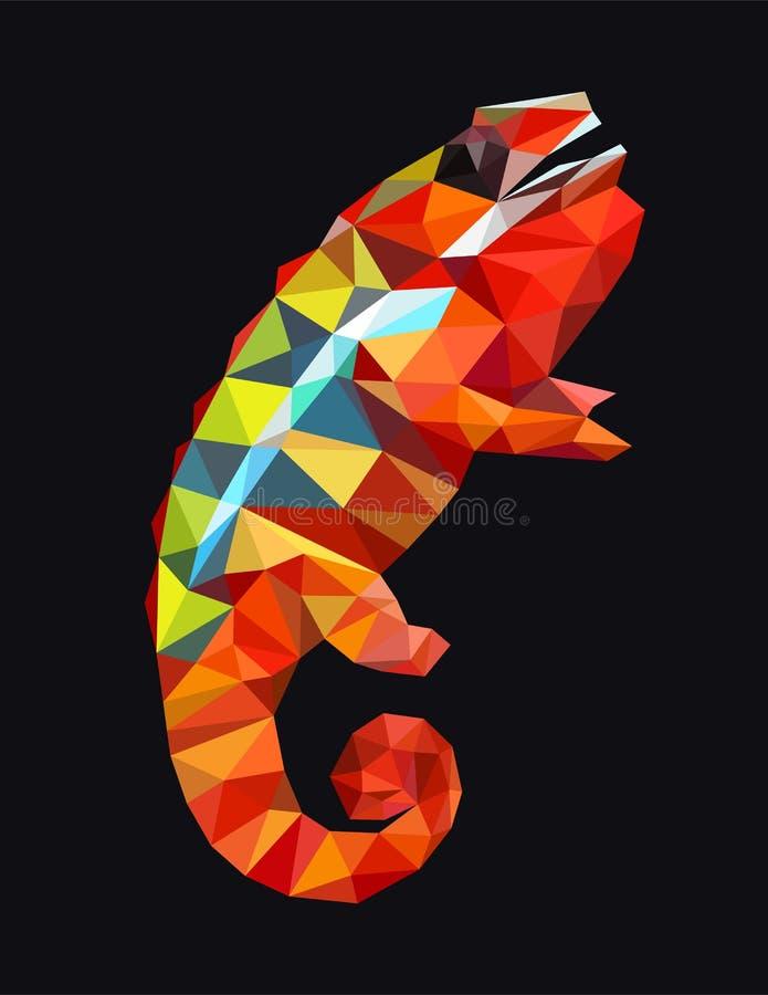 Färgrik polygonal kameleont royaltyfri illustrationer