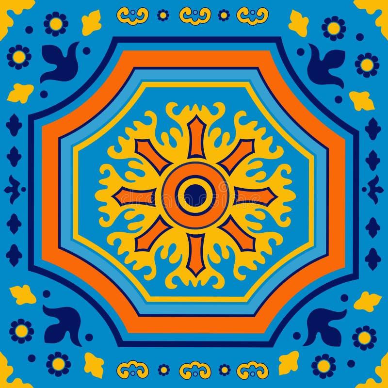 Färgrik portugisisk azulejotegelplatta royaltyfri illustrationer