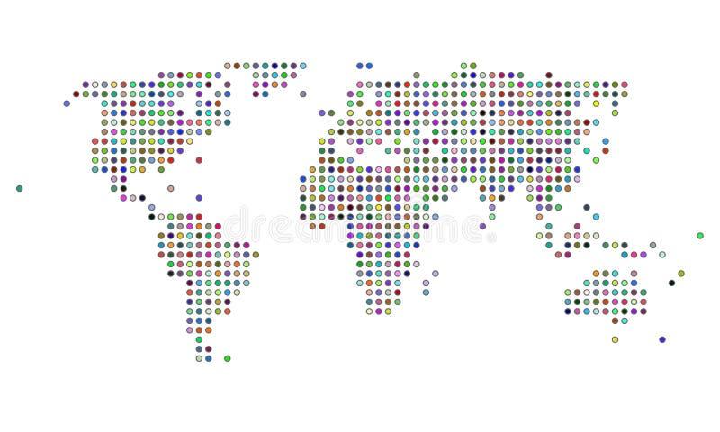 färgrik prickig översiktsvärld stock illustrationer