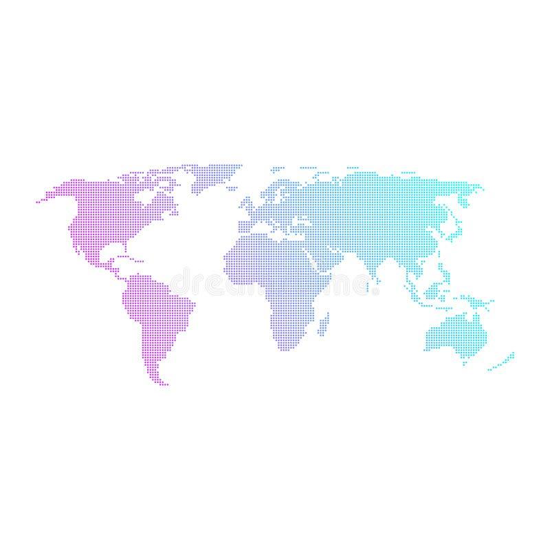 Färgrik prickig världskartavektordesign stock illustrationer