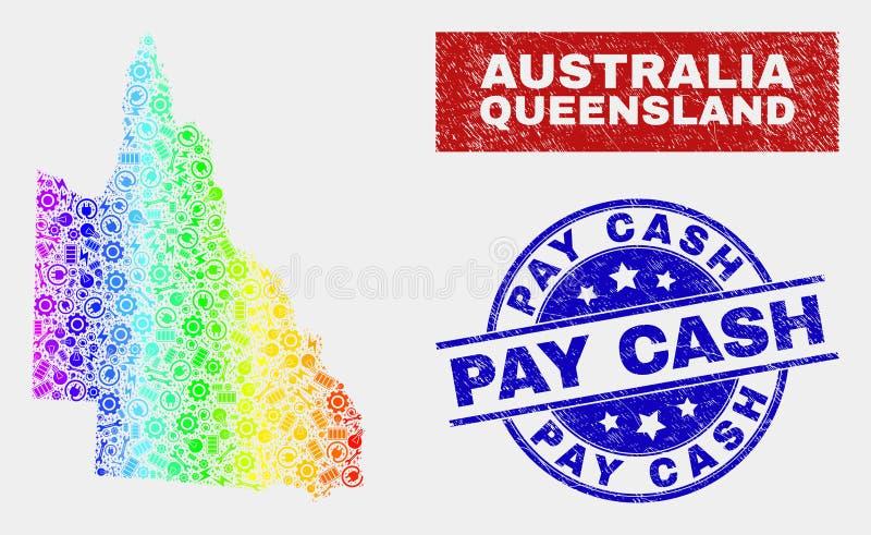 Färgrik produktionaustralierQueensland översikt och skrapade lönkassaskyddsremsor vektor illustrationer