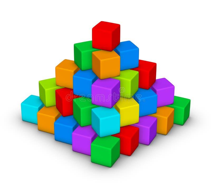 Färgrik pyramid vektor illustrationer