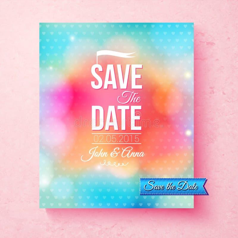 Färgrik räddning datummallen som textureras med prickar royaltyfri illustrationer