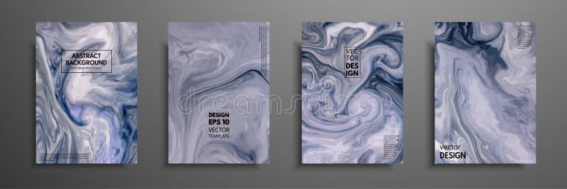 Färgrik räkningsdesignuppsättning med texturer Closeup av målningen Den abstrakta ljusa handen målade bakgrund, fluid akrylmålnin vektor illustrationer