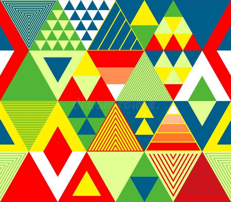 Färgrik röd gräsplan och guling texturerade djärva trianglar den geometriska abstrakta sömlösa modellen, vektor royaltyfri illustrationer