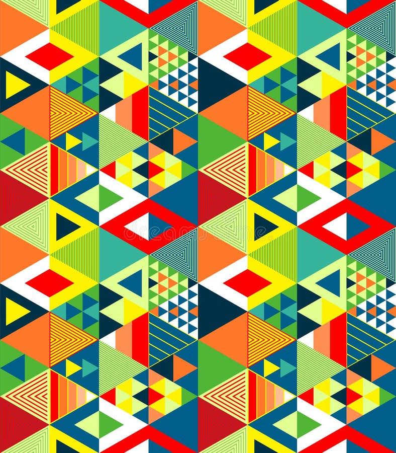 Färgrik röd gräsplan och guling texturerade djärva trianglar den geometriska abstrakta sömlösa modellen, vektor vektor illustrationer