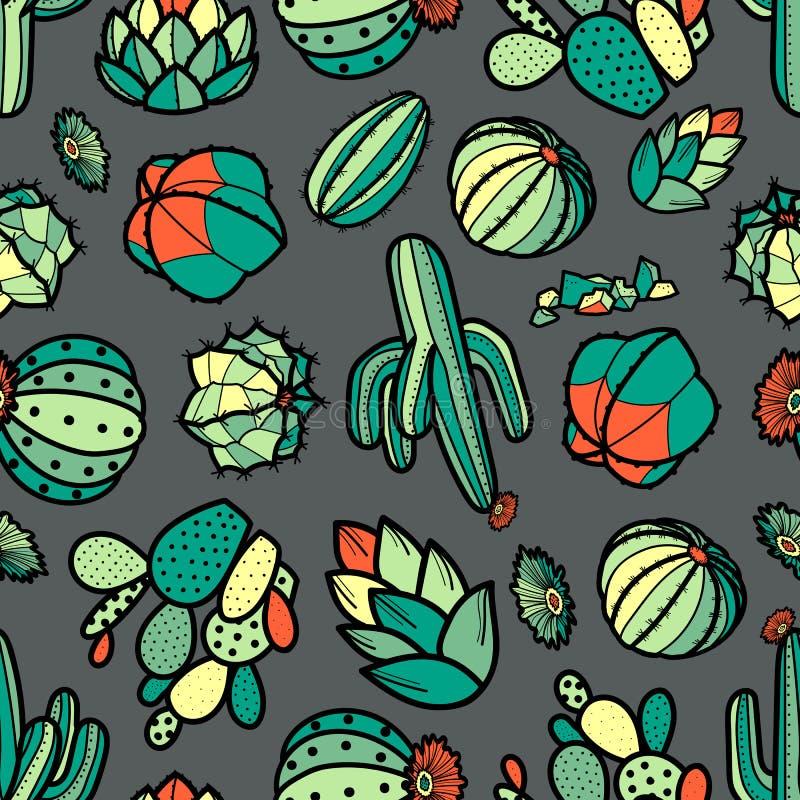 Färgrik röd och grön kaktus och suckulenter i svart översikt stock illustrationer