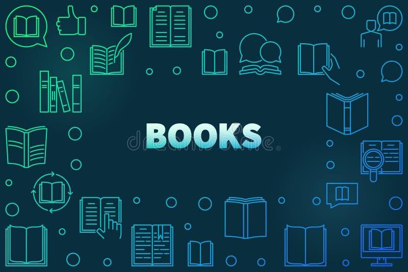 Färgrik ram för böcker som göras med linjära symboler för bok royaltyfri illustrationer
