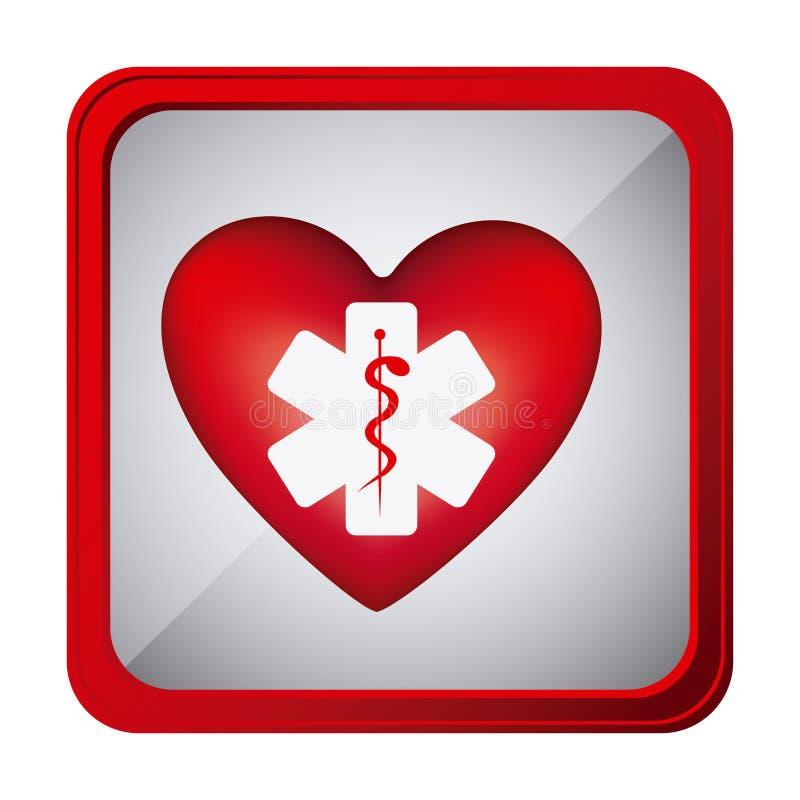 färgrik ramfyrkantknapp med vård- symbol för hjärta och stjärna av liv royaltyfri illustrationer