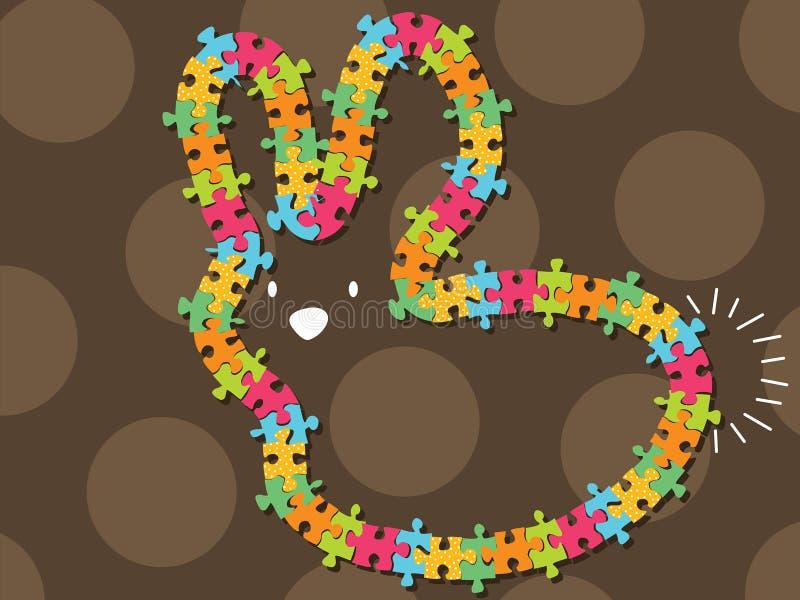 färgrik ramjigsaw för kanin stock illustrationer