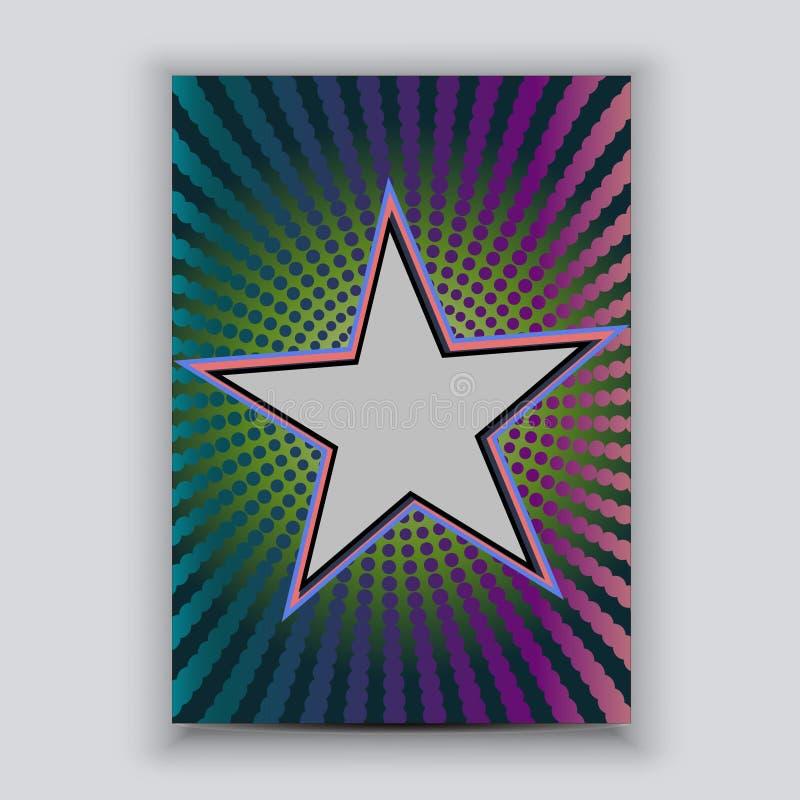 Färgrik rastrerad reklambladmall med stjärnaramen stock illustrationer