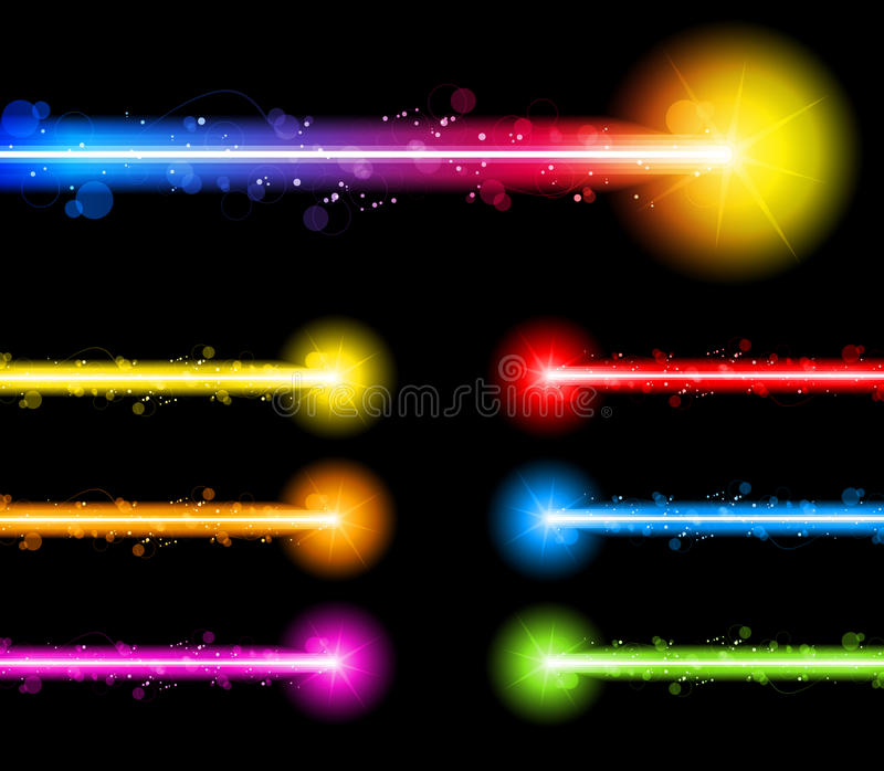 färgrik regnbåge för neon för laser-lampor stock illustrationer