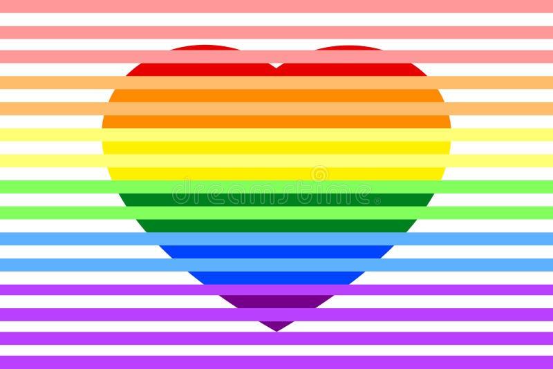 Färgrik regnbåge gjorde randig färger för hjärta som LGBTQ isoleras på vit genomskinlig bakgrund royaltyfri illustrationer